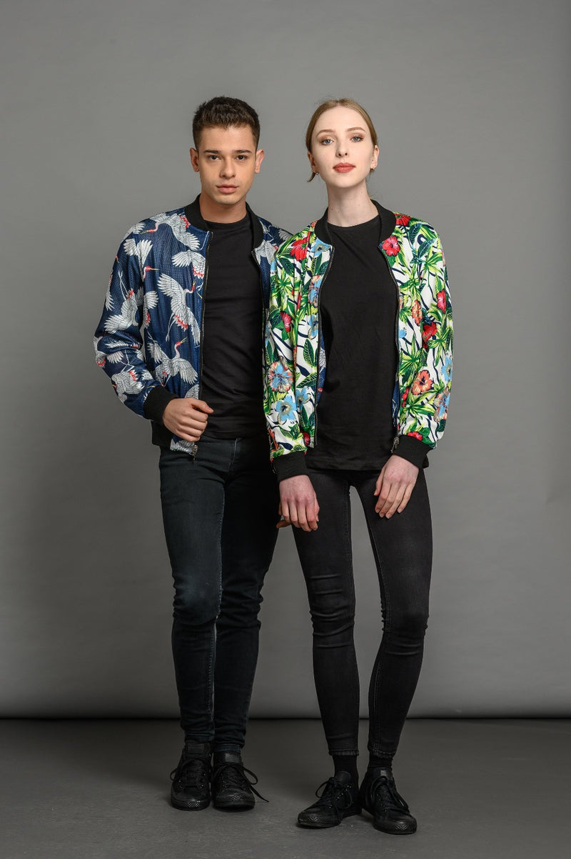 Reversible tropical crane statement bomber jacket for men and women