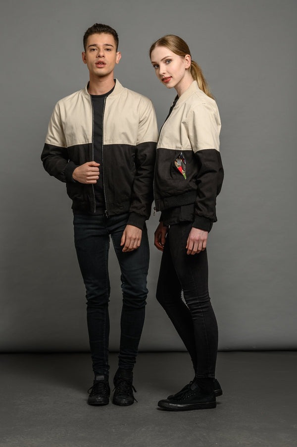 soot and ty unisex reversible two colour/all black bomber jacket