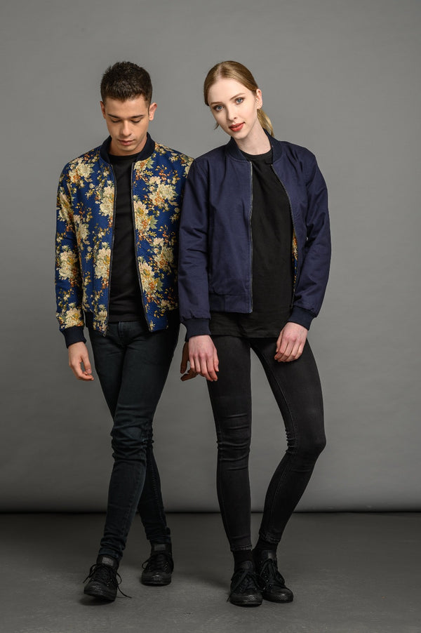 soot and ty unisex reversible floral / navy bomber jacket