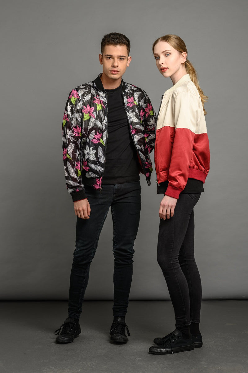 soot and ty unisex reversible two colour/tulip floral bomber jacket