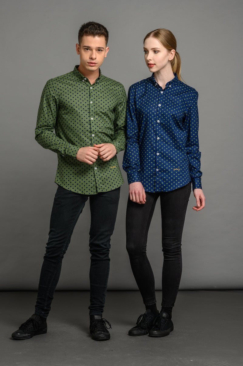 Polka Dot Print Slim Fit Shirt Green