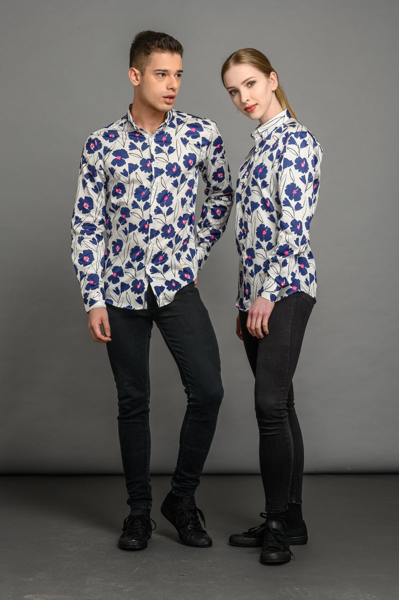 Poppies Print Slim Fit Shirt Blue