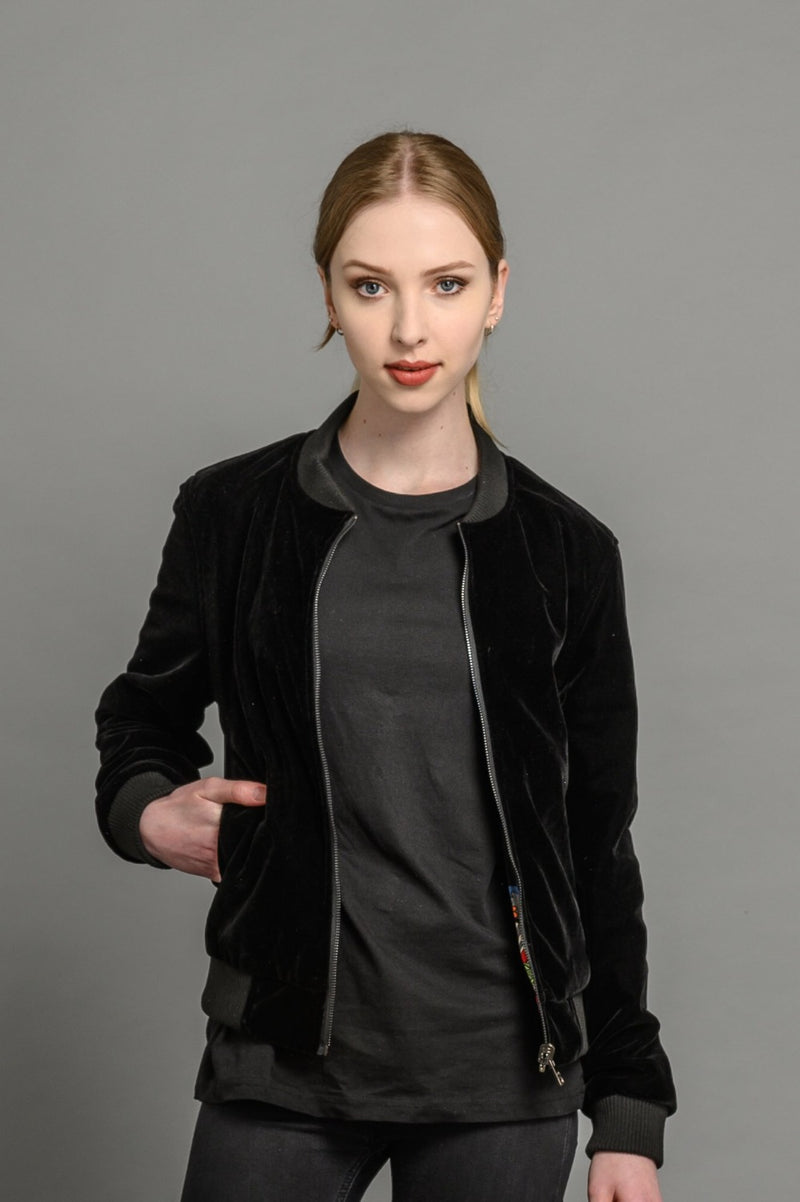 velvet reversible bomber jacket for women