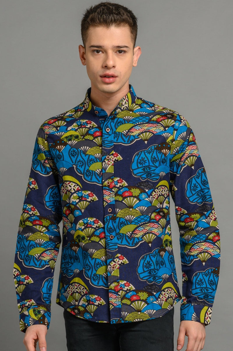 Blue Fan Print Slim Fit Shirt