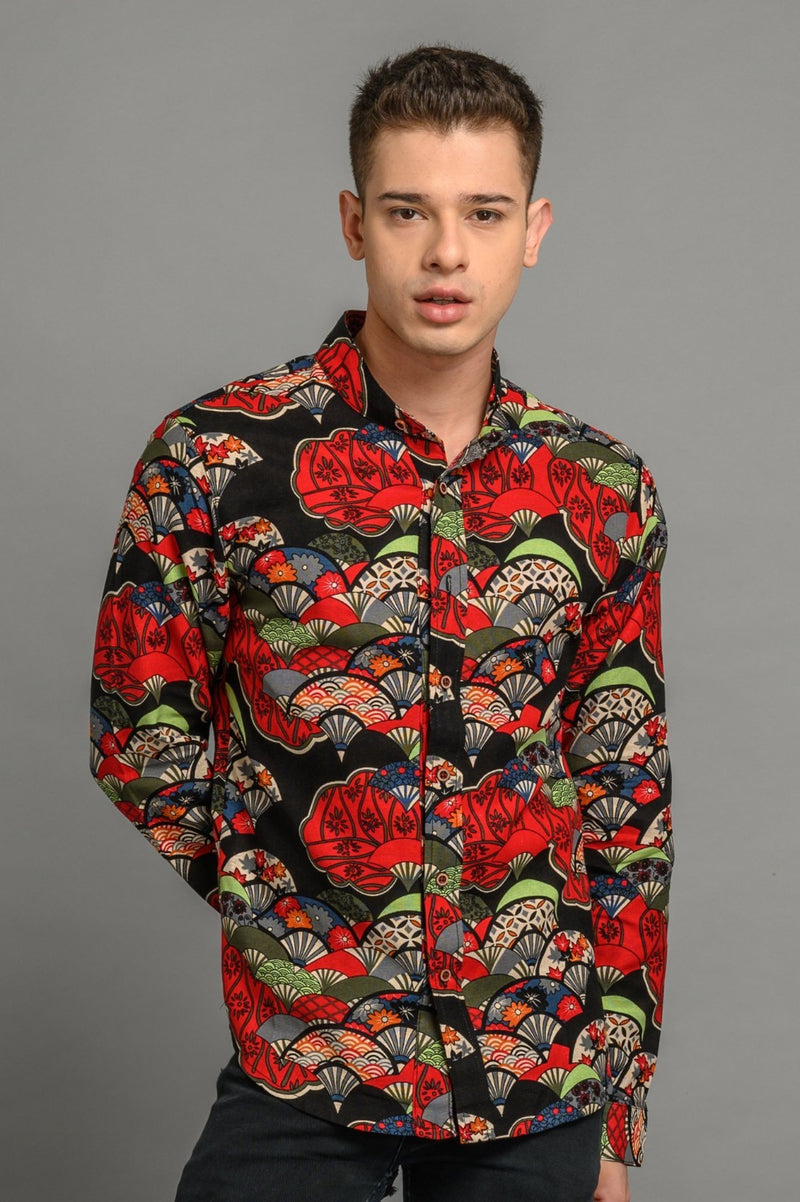 Iconic Red Fan Print Slim Fit Shirt