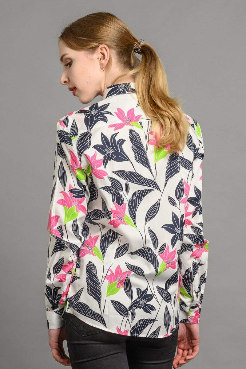 Lillies Print Slim Fit Shirt White