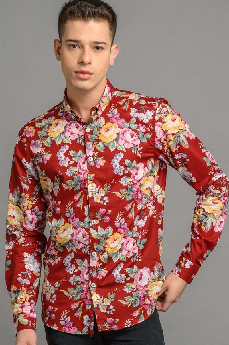 Floral Print Slim Fit Shirt Burgundy