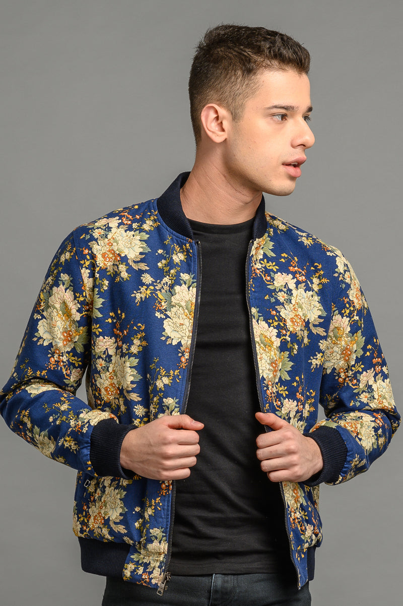Reversible Floral/Navy Bomber Jacket