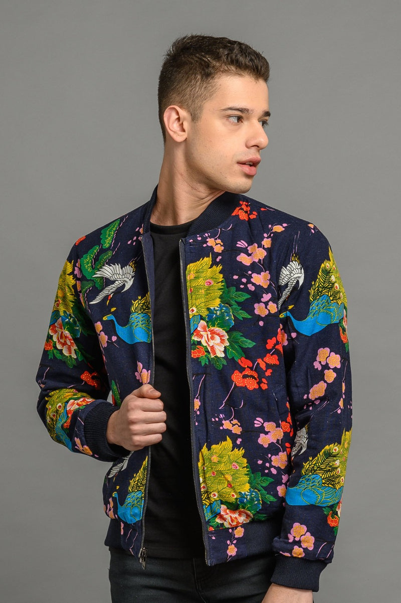 soot and ty reversible peacock/navy bomber jacket for men