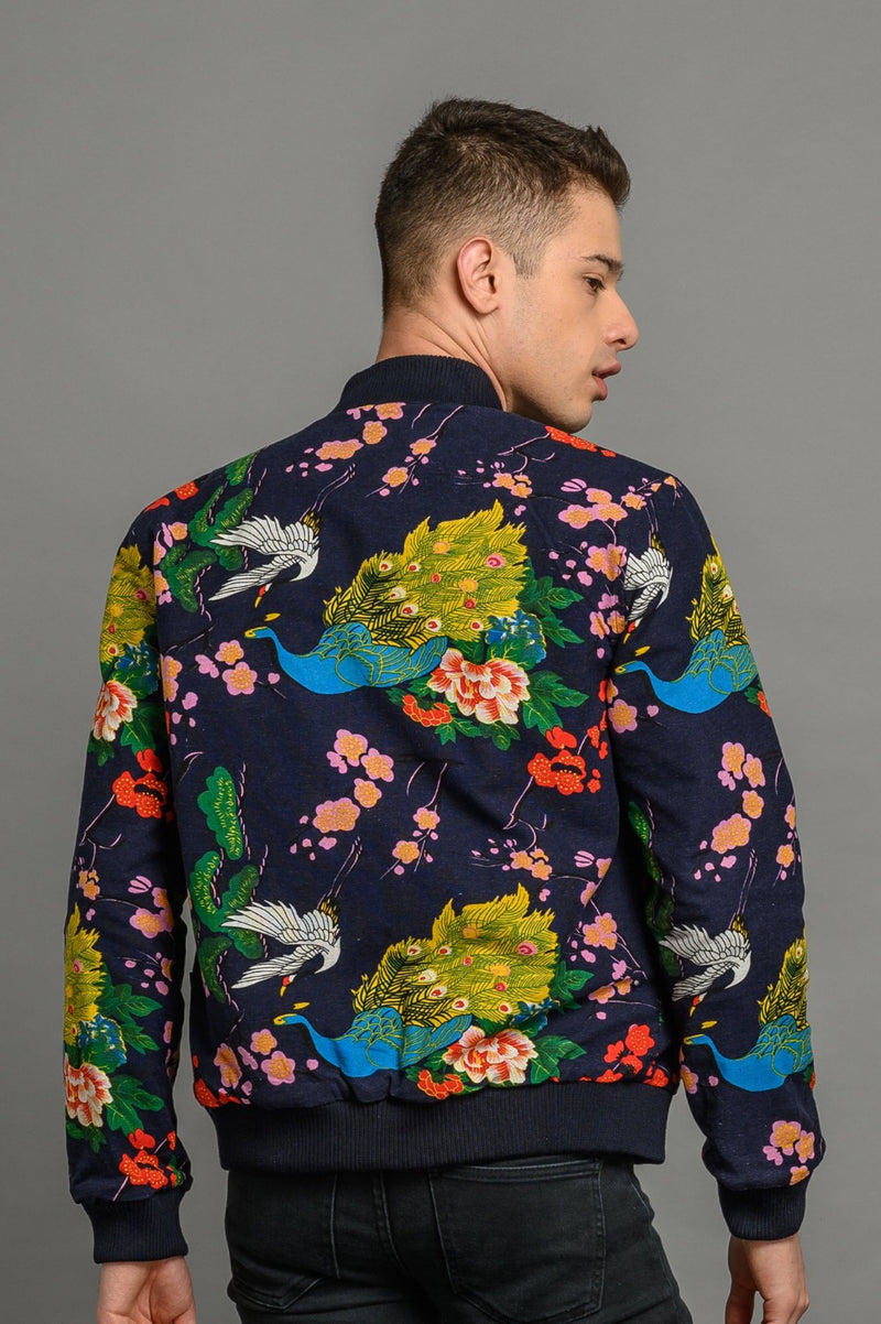 Reversible Peacock/Navy Bomber Jacket