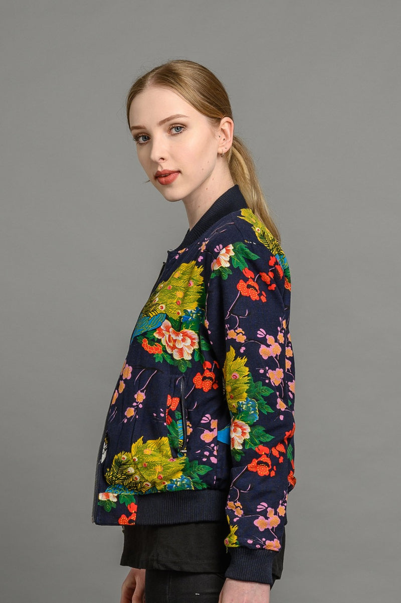 soot and ty reversible peacock/navy bomber jacket for women