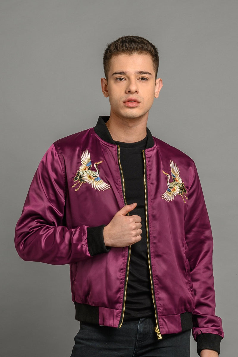 Reversible Purple Crane Sukajan Bomber Jacket
