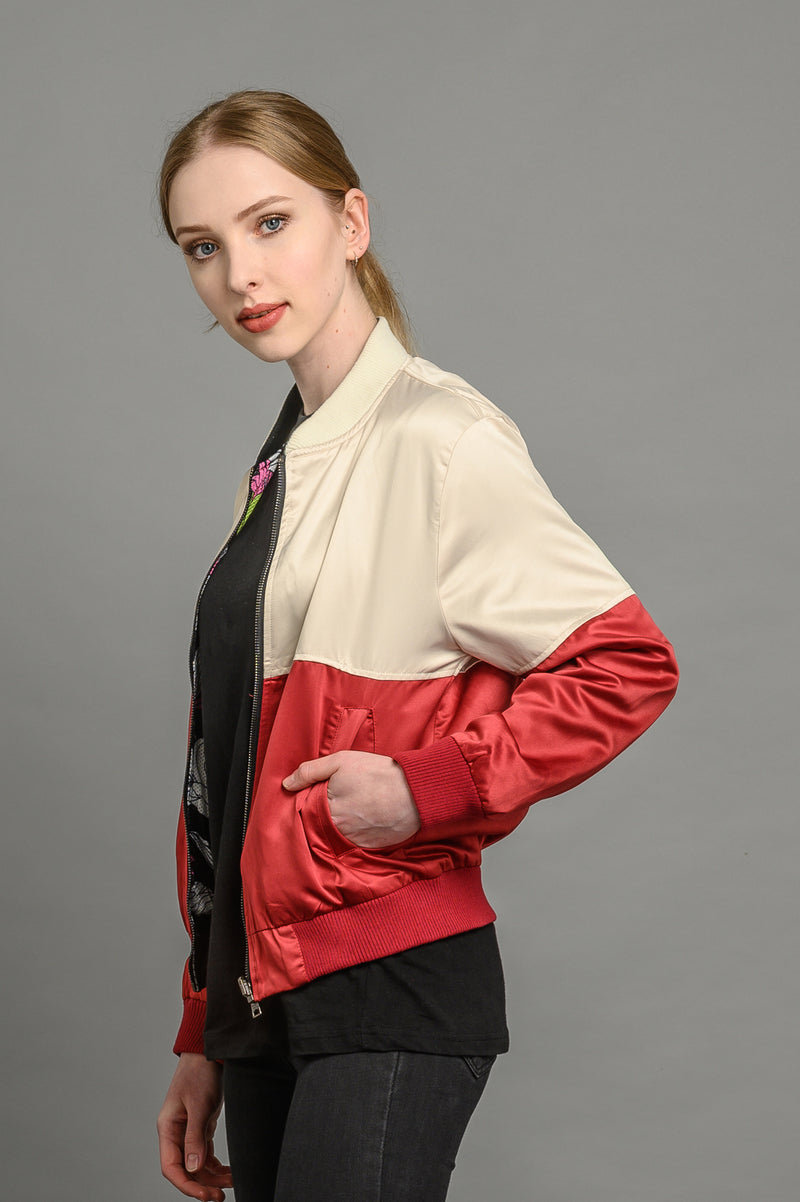reversible statement floral bomber jacket for women