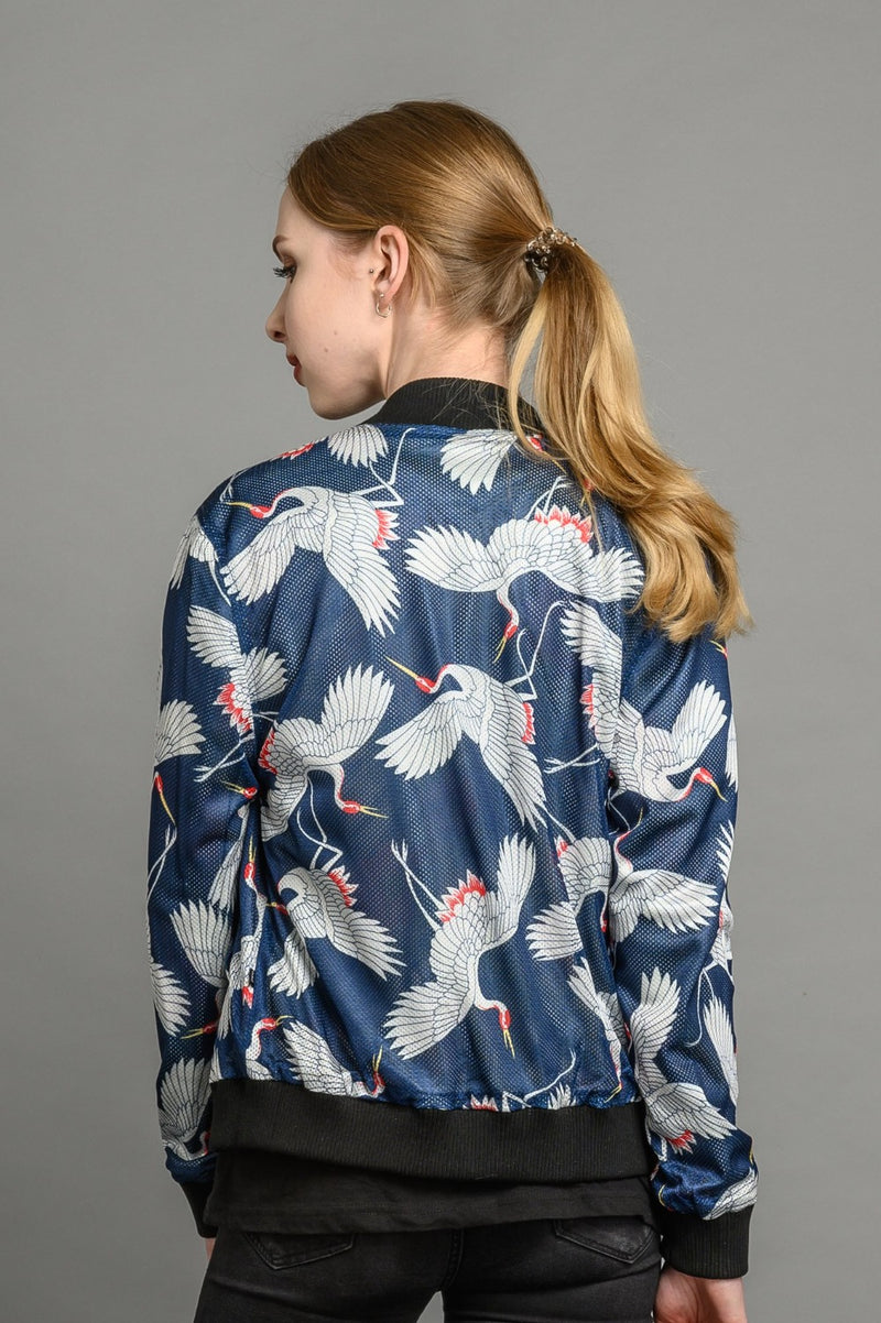 Reversible tropical crane statement bomber jacket for women