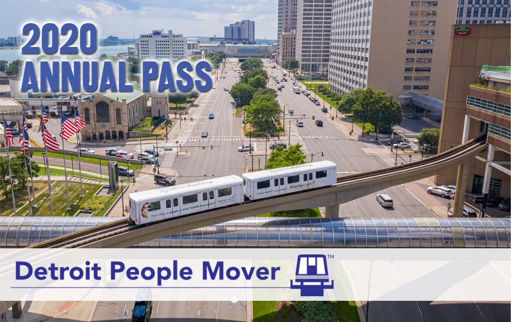 NOT FOR SALE // 2020 Annual Pass - DUE TO COVID-19, DETROIT PEOPLE MOVER RIDES ARE FREE UNTIL FURTHER NOTICE