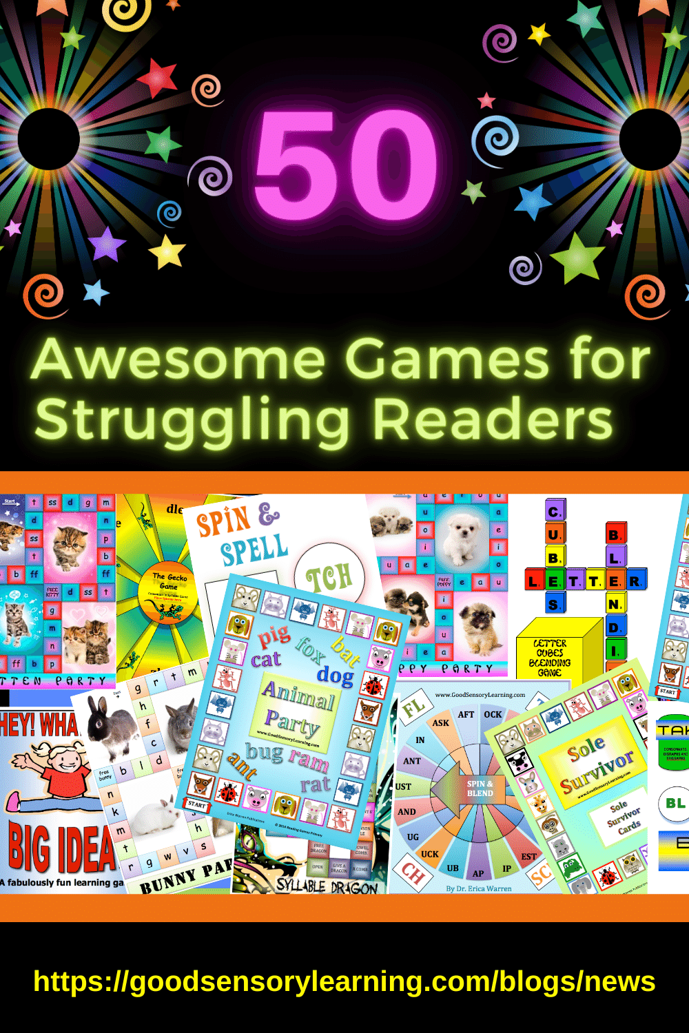 collage of 50 games for struggling readers