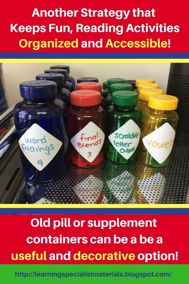 Organizing teaching materials with pill bottles