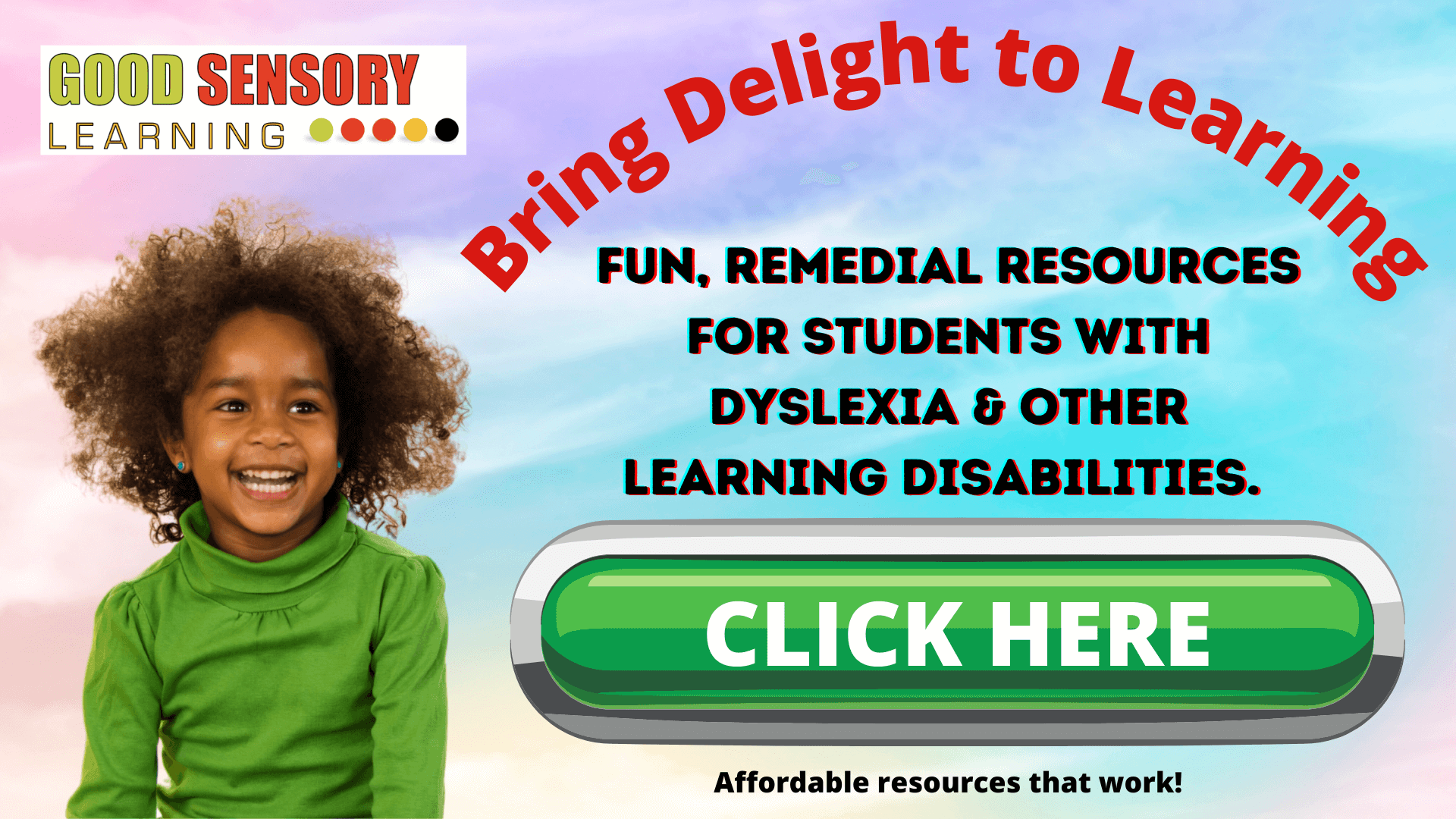 happy girl with dyslexia