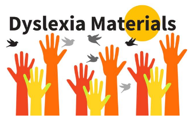 Colorful hands raising for dyslexia materials