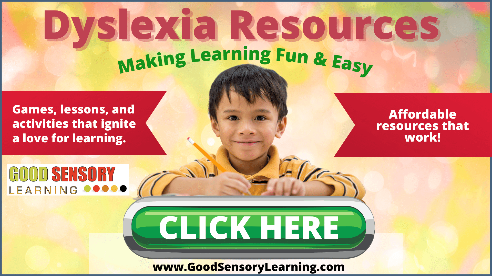 Happy student with dyslexia