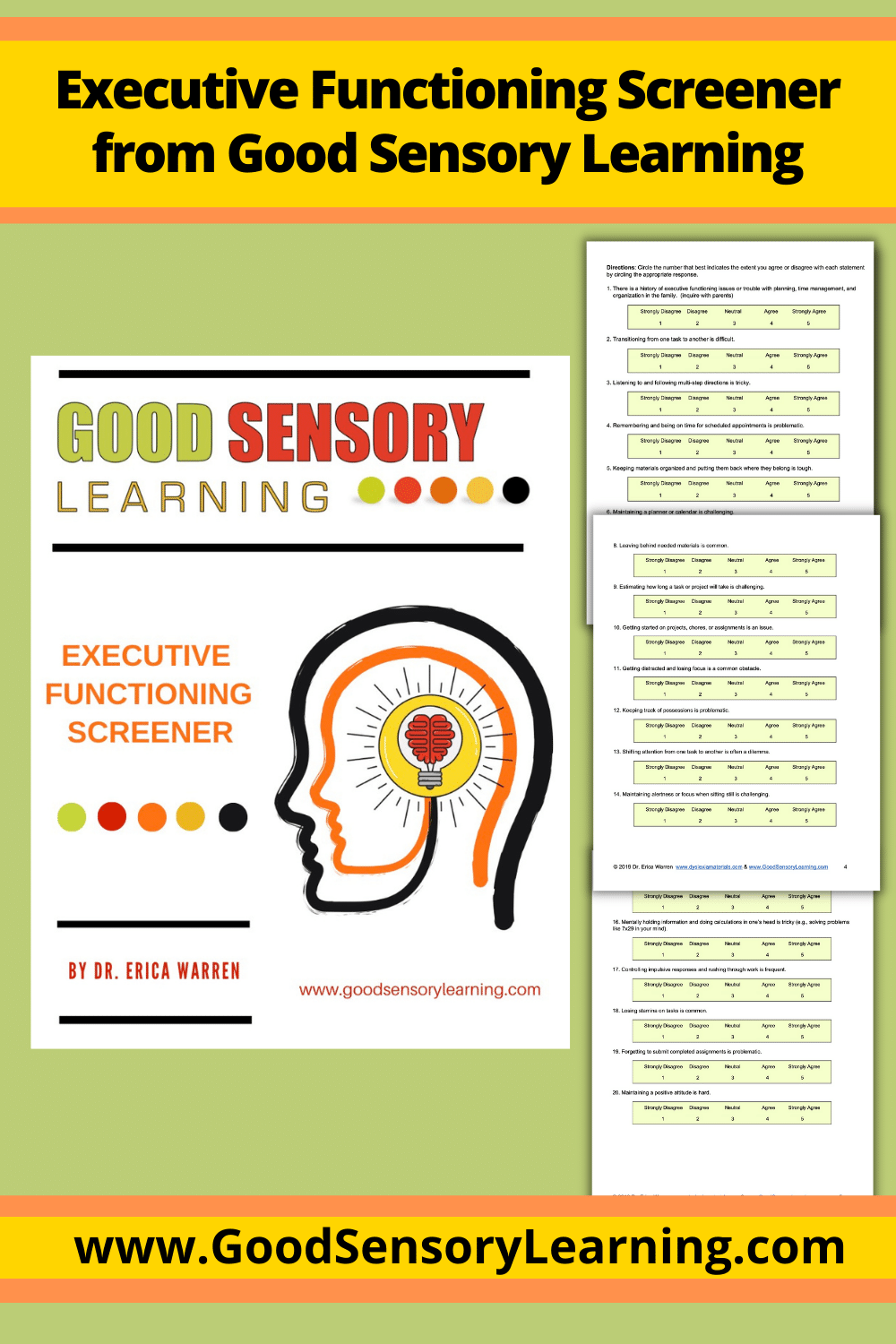 cover picture of executive functioning screener of a brain with a light bulb