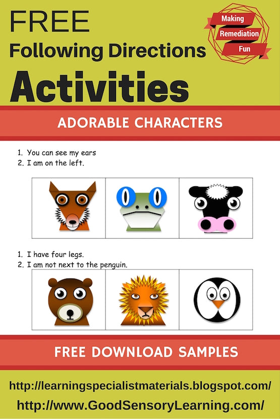 Following Directions Activities that are free