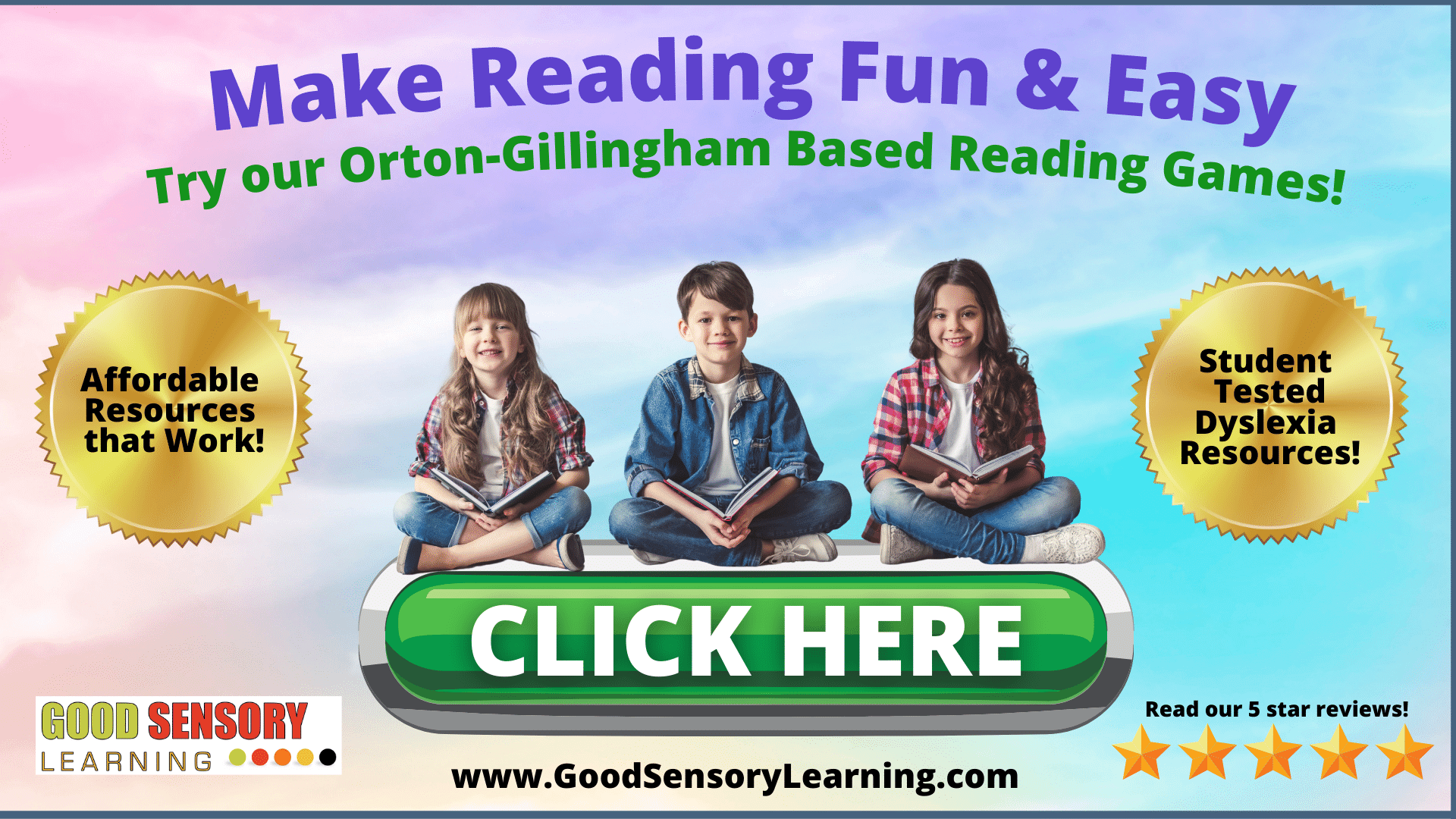 three kids with dyslexia happily reading