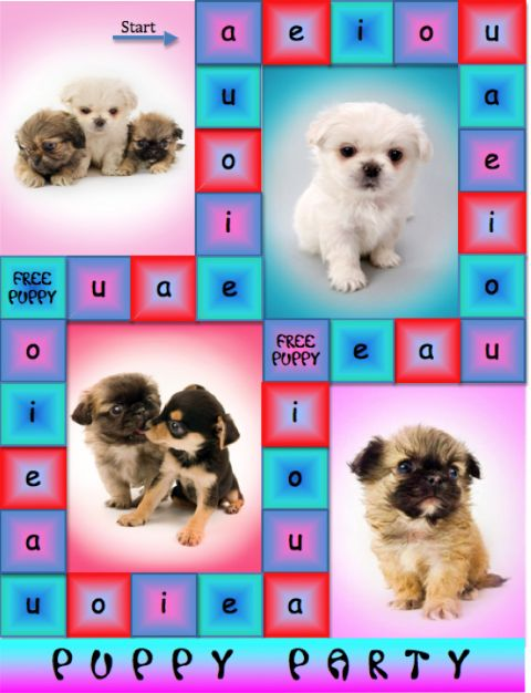 Puppy party short vowel game