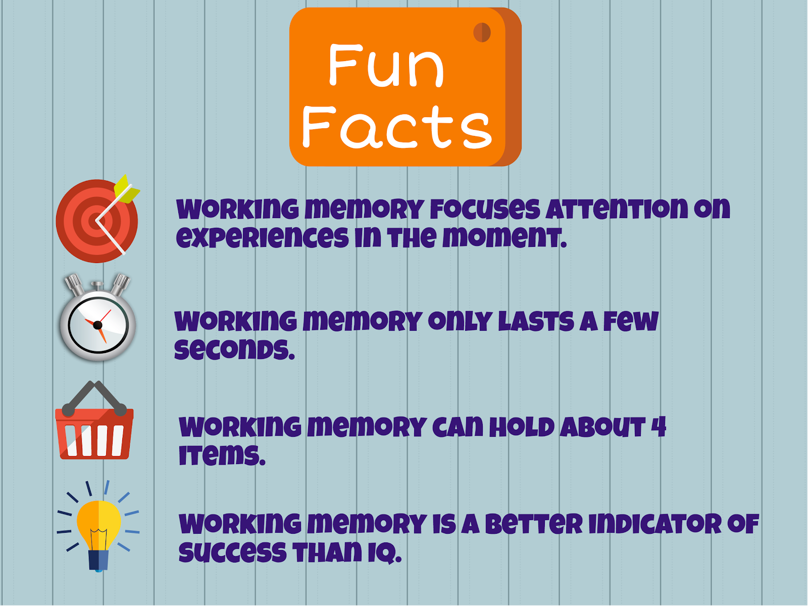 Facts about working memory