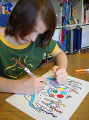 student coloring multiplication activity