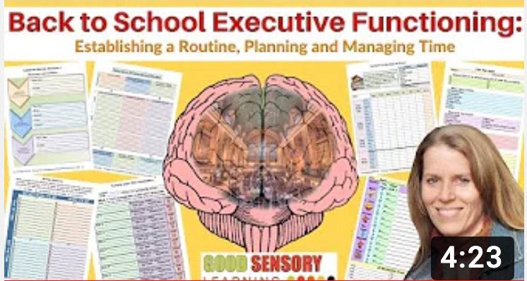 Executive functioning workbook pages and resources