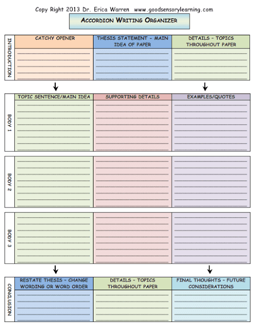Free Writing Organizer for Students