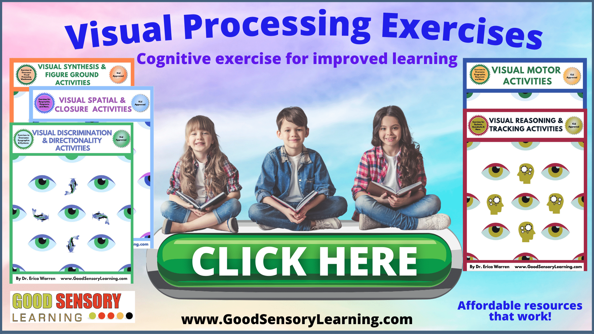 Happy kids and doing visual processing exercises