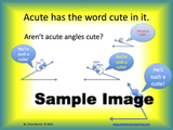 Fun slide of animated, cute acute angles bragging.