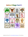 16 animal faces for a reading bingo game