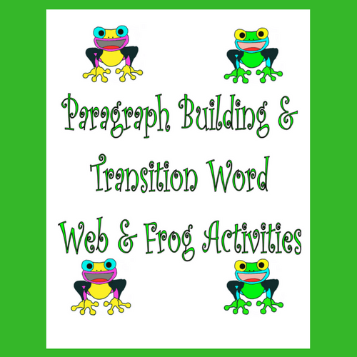 Cover of Publication Entitled Categorizing, Paragraph Building, Transitional Words Activities
