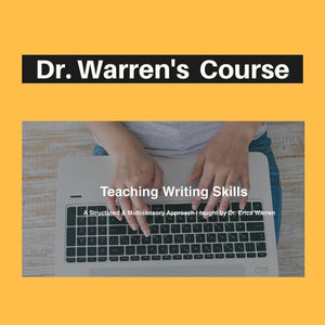 Yellow cover showing a student typing for teaching writing skills course