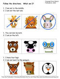 Three rows of animal faces for following directions game