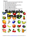Grid of fruit on Following Directions Sample Activity