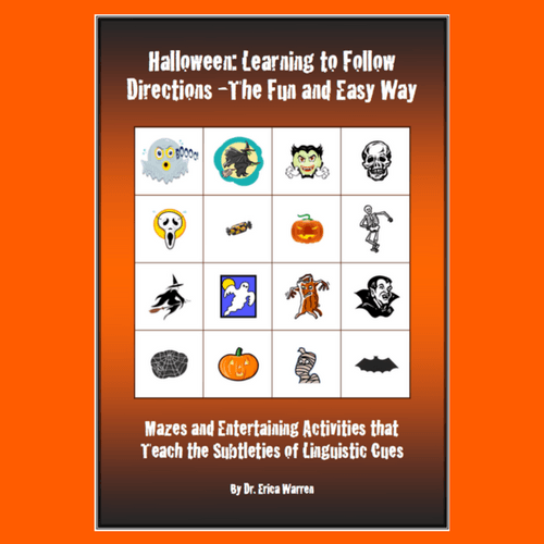 grid of halloween characters for cover of following directions workbook