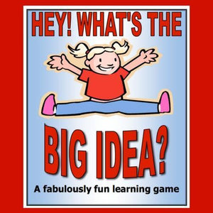 Cover of Hey, what's the big idea game shows a kid smiling and jumping