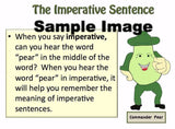 Sample instructional page for the four types of sentences