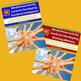 Cover of two mindfulness activity cards publications that shows children joining hands.