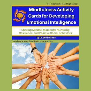 Cover for mindful task cards that shows children's hands coming together