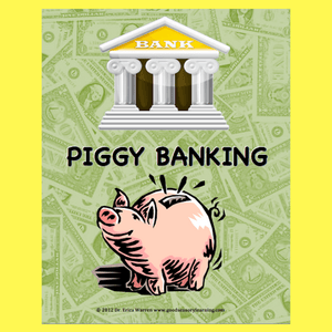 Cover of a board game with a pink pig in front of a bank