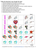 Sample following directions activity for Valentines Day