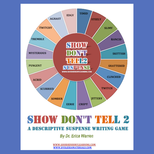 Colorful cover for Show Don't Tell Suspense Writing Game