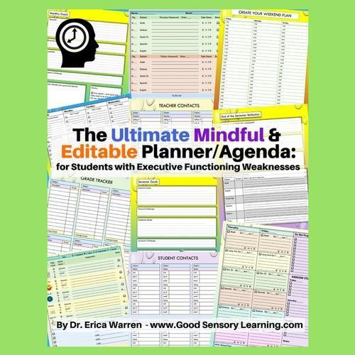 Colorful collage of pages from The Ultimate and Mindful Editable Planner