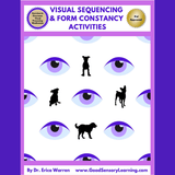 Visual Sequencing and form Constancy workbook cover with purple eyes