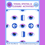 cover page of visual spatial and closure activities shows eyes and doorways